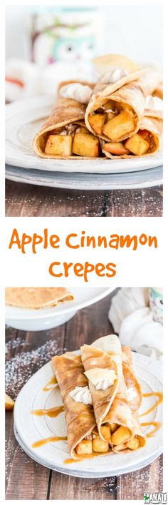 Apple Cinnamon Crepes are filled with cinnamon whipped cream and a delicious apple cinnamon filling and served with caramel sauce on top! Find the recipe on www.cookwithmanali.com