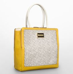 Calvin Klein Womens Carey Logo Structured Gusset Tote Bag Yellow Afterglow