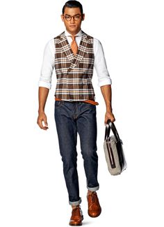 SuitSupply - a damn fine waistcoat - bold orange/brown check pattern, double-breasted