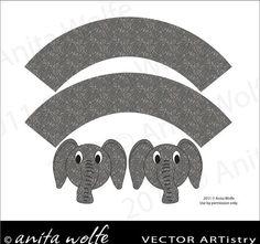 elephant printable cupcake wrappers