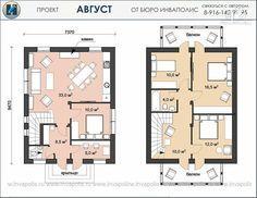 Фото 2: проект простой дом 7 х 9 из газоблока, с балконами