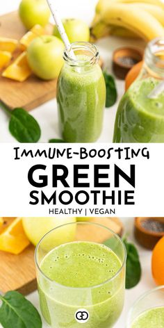 This energizing green smoothie recipe is exceptionally healthy and filled with whole nutritious ingredients to boost your immune system, energy and focus. #greensmoothie #smoothie #spinach…