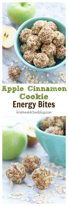 Healthy Snacks For Kids These Apple Cinnamon Cookie Energy Bites are a healthy snack that's easy to make. Filled with oats, flaxseed, almond butter, and fresh apple! Energy Snacks, Energy Bites, Protein Snacks, Protein Bars, High Protein, Healthy Sweets, Healthy Snacks, Healthy Eating, Healthy Recipes