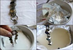 Jewelry Cleaner Recipe: Heat 1 c. water in microwave for 1-2 minutes. Cut a piece of aluminum foil to cover the bottom of a small bowl. Pour hot water into bowl. Place 1 Tbsp. each salt, baking soda, & dish soap into bowl. Place jewelry on top of foil and let sit 5-10 minutes. Rinse jewelry in cool water and dry with a soft cloth.