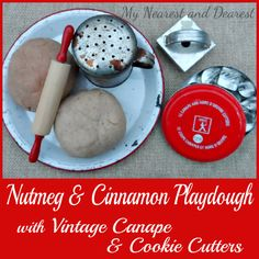 Nutmeg and Cinnamon Playdough with Vintage Canape and Cookie Cutters from My Nearest and Dearest