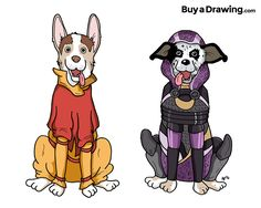 I drew two dogs for Lauren in Rock Hill, SC as their respective namesakes: Meelo from Legend of Korra and Tali from Mass Effect. #dogs #dog #Meelo #Tali #LegendofKorra #anime #MassEffect #videogame #videogames #korra #pets #pet #gift #drawing #cartoonist #cartoon #illustration #illustrator #draw #buyadrawing #art #artwork #artist #caricature #caricatures #doodle #doodles #creative