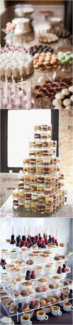 mini wedding dessert ideas / http://www.deerpearlflowers.com/wedding-mini-desserts/