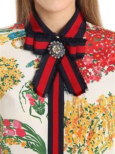 gucci - mujer - camisas - camisa de crepé de cady de seda estampado floral