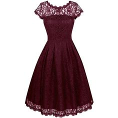 Angerella Women's Retro Floral Lace Cap Sleeve Vintage Swing... ($27) ❤ liked on Polyvore featuring dresses, floral bridesmaid dresses, floral print bridesmaid dresses, retro dresses, purple dress and vintage dresses