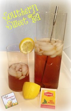 """Southern Sweet Tea Recipe- I only used 1/2 cup of sugar for my """"half cut"""" recipe. Try adding a pinch of baking soda next pitcher. Life is so much better with sweet tea!"""