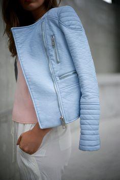 Light Blue | Winston and Willow - light blue Zara moto jacket