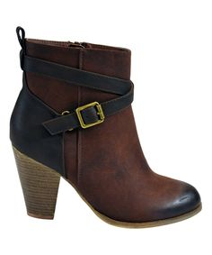 Pink Key Brown Buckle Karma Bootie   zulily #streetstyle