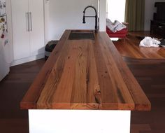 Melbourne recycled timber benchtops - custom for your kitchen, bar, cafe, restaurant Melbourne recyc Wooden Benchtop Kitchen, Timber Benchtop, Timber Kitchen, Kitchen Benchtops, Industrial Style Kitchen, Kitchen Flooring, Diy Kitchen Storage, Kitchen Redo, New Kitchen