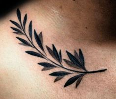 Manly Olive Branch Collarbone Tattoos For Guys