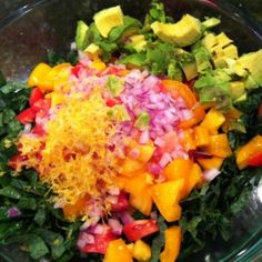 "raw kale salad with avocado and quinoa!  Looks amazing.  You had me at ""massage the ingredients""!  :-)"