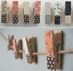 Clothes pins can be covered with paper, fabric or decorative tape to make them extra beautiful.