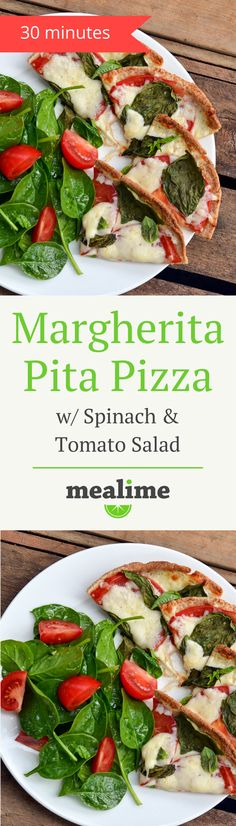 Margherita Pita Pizza with Spinach & Tomato Salad - a quick and healthy Mealime recipe for one or two. Flexitarian, pescetarian, vegetarian, fish free, peanut free, shellfish free, and tree nut free. #mealplanning