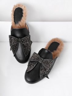 d40797dcd962 Shop Bow Tie PU Flat Mules With Faux Fur online. SheIn offers Bow Tie PU  Flat Mules With Faux Fur   more to fit your fashionable needs.