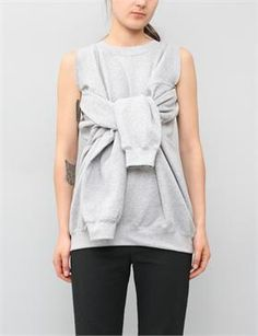 Slow and Steady Wins the Race Detached Sleeve Sweater - Grey