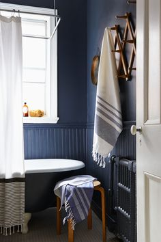 Get ready for a big feng shui surprise! Yes, even the smallest bathrooms can have good feng shui! Here are 25 small bathrooms with great feng shui.: Warm Blue in the Bathroom Bathroom Interior, Modern Bathroom, Small Bathrooms, White Bathroom, Next Bathroom, Beautiful Bathrooms, Bathroom Inspiration, Feng Shui, Decoration