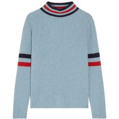The Elder Statesman Odyssey striped ribbed cashmere turtleneck sweater (506.660 CLP) ❤ liked on Polyvore featuring tops, sweaters, sweatter, my clothes, blue sweater, stripe sweater, ribbed turtleneck, blue turtleneck sweater and ribbed sweater