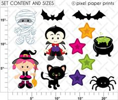 Spooky Friends Halloween Set de Clip Art y por pixelpaperprints