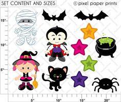 Spooky Friends Halloween Set de Clip Art y por pixelpaperprints