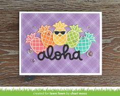 the Lawn Fawn blog: Lawn Fawn Video {6.28.17} A Rainbow Aloha card by Chari Moss.