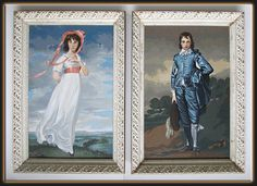 60s Pair of Large Framed Paint by Number Paintings Blue Boy & Pinkie Portraits