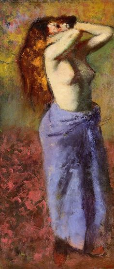 Woman in a Blue Dressing Gown, Torso Exposed - Edgar Degas, 1890