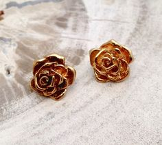 Vintage Goldtone Floral / Botanical Rose Petals by shopFiligree