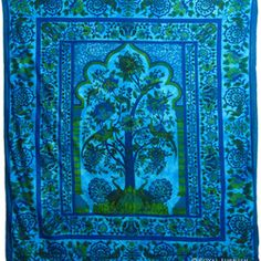blue tapestry in room - Google Search