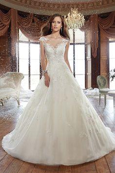 2016 Bateau A Line Wedding Dresses Tulle mit Applikationen und Perlen € 251.32 SAPBDLQ5YL - SchickeAbendKleider.de