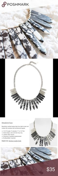 'Marble Ra' Bib Necklace in Black & White Beautiful bib necklace from Baublebar, currently sold out! In excellent condition, never used. Baublebar Jewelry Necklaces