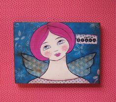 Folk Art Angel Reproduction Print Mounted on Wood by Debidoodah, $8.00