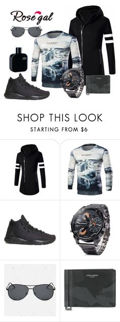 """""""Man in sport style"""" by mercija ❤ liked on Polyvore featuring NIKE, Yves Saint Laurent, Lacoste, men's fashion, menswear, black, manFashion and rosegal"""