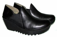 FLY LONDON YUA Black Leather Platform Wedge Heels Loafers Womens 36 5.5 #flylondon #PlatformsWedges