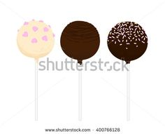 Set of isolated flat cake pop. Cupcakes round shape on a stick. Hand drawn vector illustration.