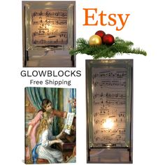 Fashion set Music score Gifts created via Music Score, Unusual Art, Christmas Table Decorations, Glass Blocks, Handmade Crafts, Vintage Shops, Art Decor, Artworks, Etsy Seller