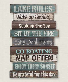 'Lake Rules' Wall Sign by Young's #zulily #zulilyfinds