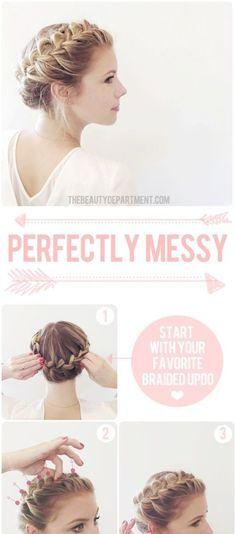 Quick and Easy Updo Hairstyles - Cute Updo - Hair Hacks And Popular Haircuts For The Lazy Girl. Hairdos and Up Dos Including The Half Up, Chignons, Twists, Beauty Tips, and DIY Tutorial Videos For Ban (Top Knot For Short Hair) Braided Crown Hairstyles, Braided Updo, Pretty Hairstyles, Wedding Hairstyles, Easy Hairstyles, Milkmaid Braid, Girl Hairstyles, Bun Braid, Girls Hairdos