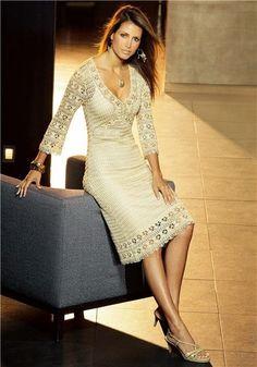 Crinochet: Elegant Dress by Karen Millen Crochet Beach Dress, Crochet Skirts, Crochet Clothes, Knit Dress, Lace Dress, Beige Dresses, Elegant Dresses, Karen Millen, Karen Miller Dress