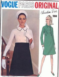 Vtg Vogue Paris Original Misses' Dress Christian Dior Pattern 1994 14 Vintage Vogue, Vintage Fashion 1950s, 60s And 70s Fashion, Retro Fashion, Fashion Fashion, Vintage Outfits, Robes Vintage, Vintage Dresses, Vogue Sewing Patterns