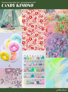 Premiere-vision-trends-spring-summer-2017-New York-Candy-Kimono Candy pop tones / Iridescent Hues / Pixellated, Striped & dots combine / Future Oriental looks / Pinks, lilacs & light turquoise
