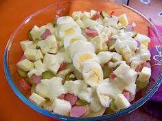 Ensalada Alemana Ingredientes Ensalada:   - patata - huevo - salchicha - queso - manzana - pepinillos   Ingredientes Aliño:   - 1/2 vaso de nata espesa - 1/4 vaso de mostaza suave - zumo de limón - eneldo