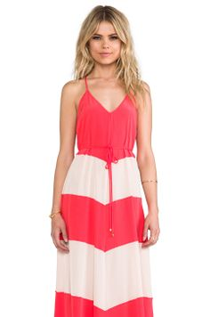 Karina Grimaldi Somer Combo Maxi Dress in Red & Nude Combo from REVOLVEclothing
