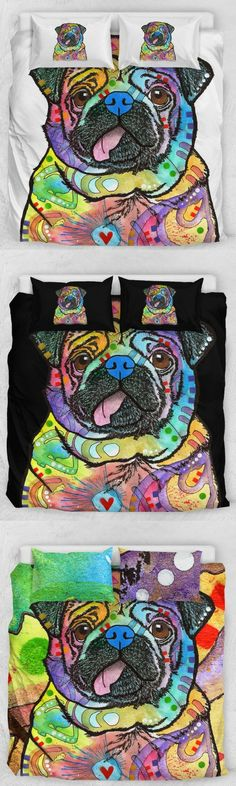 Bedding collections - Pug Bedding Set - Duvet / Comforter Cover and Two Pillow Covers - Dean Russo Art - bedding ideas for your master bedroom. NNT #bedding #affiliate #pug #beddingset #masterbedroom  #duvetcover