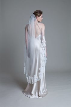 Silk tulle low three quarter length bridal wedding vail with a wide french lace boarder by Halfpenny London