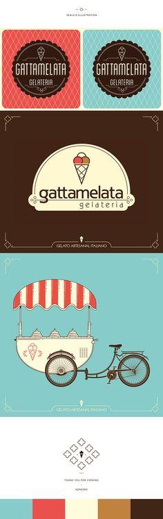 Branding & Visual Identity project developed for Gattamelata Gelateria.-Projeto de desenvolvimento de marca e comunicação visual para Gattamelata Gelateria.