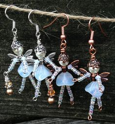 Sweet Milky White FAIRY ANGEL Beaded Earrings: by TwinklingOfAnEye